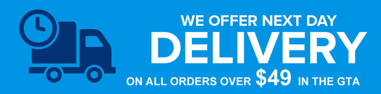 next day delivery for orders over $49 in the greater toronto area